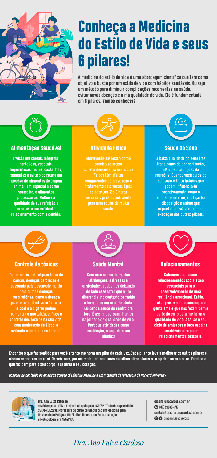 Inforgráfico mostrando os 6 pilares da Medicina do Estilo de vida. A medicina do estilo de vida é nossa maior aliada na mudança de hábitos e escolhas saudáveis.